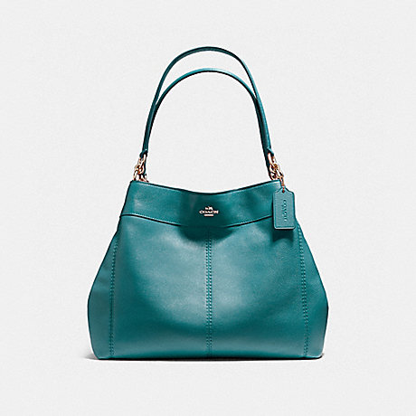 COACH f57545 LEXY SHOULDER BAG IN PEBBLE LEATHER LIGHT GOLD/DARK TEAL