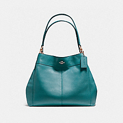 LEXY SHOULDER BAG IN PEBBLE LEATHER - f57545 - LIGHT GOLD/DARK TEAL