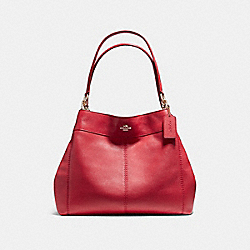 LEXY SHOULDER BAG IN PEBBLE LEATHER - f57545 - LIGHT GOLD/TRUE RED