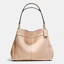 LEXY SHOULDER BAG IN PEBBLE LEATHER - f57545 - IMITATION GOLD/BEECHWOOD