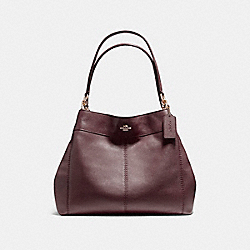 LEXY SHOULDER BAG IN PEBBLE LEATHER - f57545 - LIGHT GOLD/OXBLOOD 1