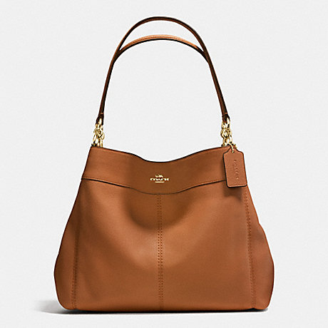 COACH f57545 LEXY SHOULDER BAG IN PEBBLE LEATHER IMITATION GOLD/SADDLE