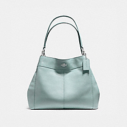 LEXY SHOULDER BAG IN PEBBLE LEATHER - f57545 - SILVER/AQUA