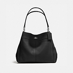 LEXY SHOULDER BAG IN PEBBLE LEATHER - f57545 - SILVER/BLACK