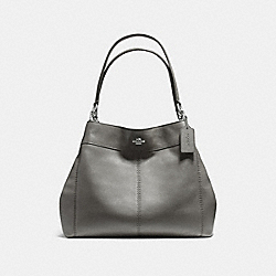 LEXY SHOULDER BAG IN PEBBLE LEATHER - f57545 - SILVER/HEATHER GREY