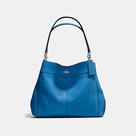 COACH f57545 LEXY SHOULDER BAG IN PEBBLE LEATHER SILVER/LAPIS