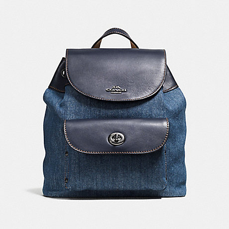 COACH f57547 MINI BILLIE BACKPACK IN DENIM AND LEATHER ANTIQUE SILVER/DENIM