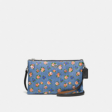 COACH f57549 LYLA CROSSBODY IN PRINTED DENIM SILVER/DENIM MULTI