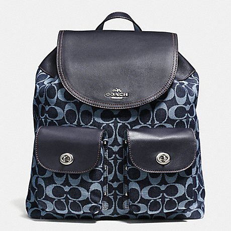 COACH f57551 BILLIE BACKPACK IN SIGNATURE DENIM AND LEATHER SILVER/LIGHT DENIM