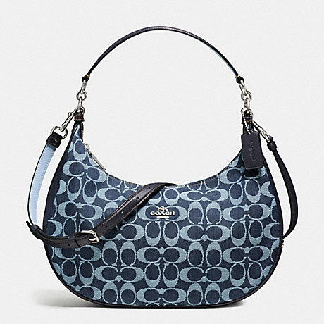 COACH f57553 HARLEY EAST/WEST HOBO IN SIGNATURE DENIM AND LEATHER SILVER/LIGHT DENIM