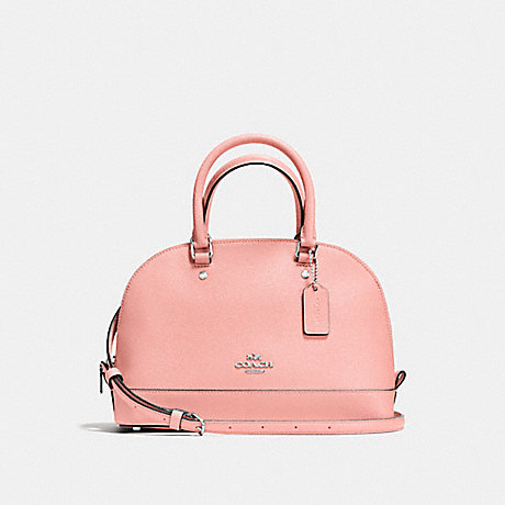 COACH f57555 MINI SIERRA SATCHEL IN CROSSGRAIN LEATHER SILVER/BLUSH