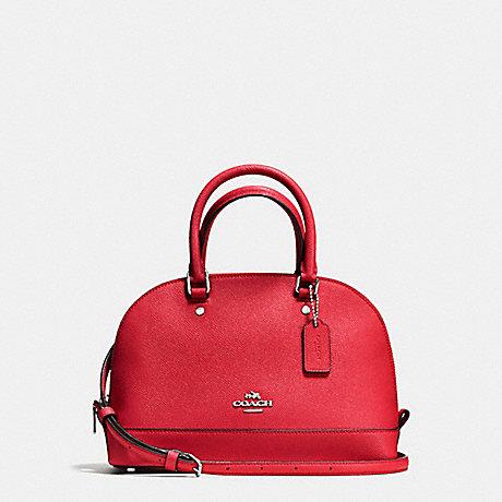 Coach F57555 Mini Sierra Satchel In Crossgrain Leather Silver Bright Red