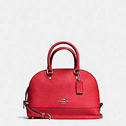 COACH F57555 - MINI SIERRA SATCHEL IN CROSSGRAIN LEATHER SILVER/BRIGHT RED