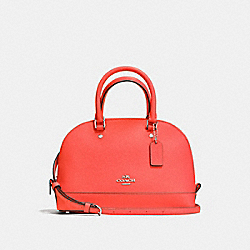 COACH F57555 Mini Sierra Satchel In Crossgrain Leather SILVER/BRIGHT ORANGE