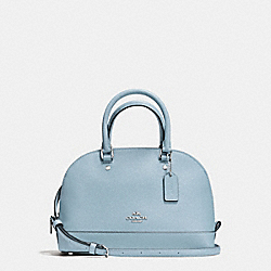 COACH F57555 - MINI SIERRA SATCHEL IN CROSSGRAIN LEATHER SILVER/CORNFLOWER