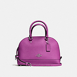 COACH F57555 Mini Sierra Satchel In Crossgrain Leather SILVER/HYACINTH