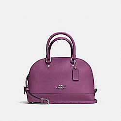 MINI SIERRA SATCHEL IN CROSSGRAIN LEATHER - f57555 - SILVER/MAUVE