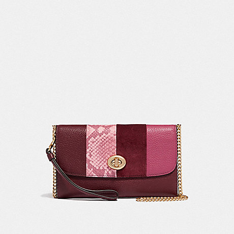 COACH F57556 CHAIN CROSSBODY WINE-MULTI/LIGHT-GOLD
