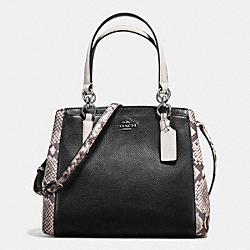 MINETTA CROSSBODY WITH SNAKE EMBOSSED LEATHER TRIM - f57557 - ANTIQUE NICKEL/BLACK MULTI