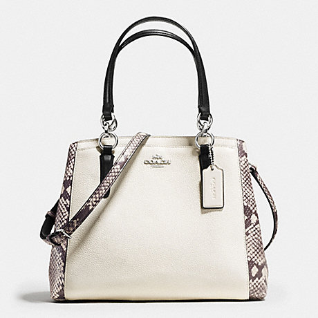 COACH f57557 MINETTA CROSSBODY WITH SNAKE EMBOSSED LEATHER TRIM SILVER/CHALK MULTI