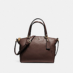 MINI KELSEY SATCHEL IN PEBBLE LEATHER - f57563 - LIGHT GOLD/OXBLOOD 1