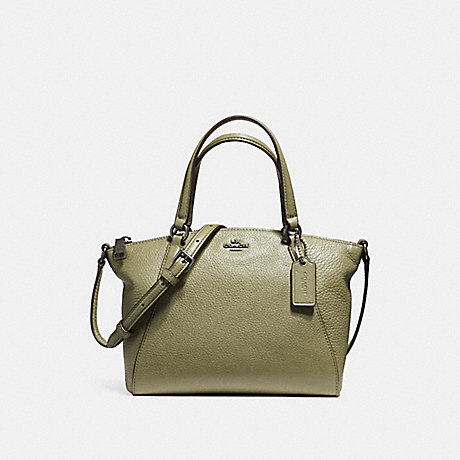 COACH F57563 MINI KELSEY SATCHEL IN PEBBLE LEATHER BLACK-ANTIQUE-NICKEL/MILITARY-GREEN