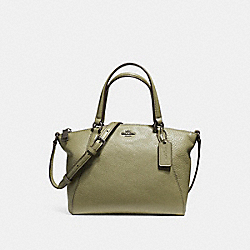 COACH F57563 Mini Kelsey Satchel In Pebble Leather BLACK ANTIQUE NICKEL/MILITARY GREEN