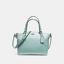 MINI KELSEY SATCHEL IN PEBBLE LEATHER - f57563 - SILVER/AQUA