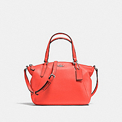 COACH F57563 Mini Kelsey Satchel In Pebble Leather SILVER/BRIGHT ORANGE