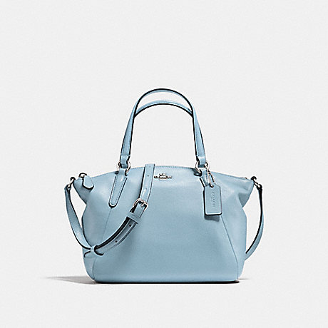 COACH f57563 MINI KELSEY SATCHEL IN PEBBLE LEATHER SILVER/CORNFLOWER