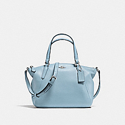 MINI KELSEY SATCHEL IN PEBBLE LEATHER - f57563 - SILVER/CORNFLOWER
