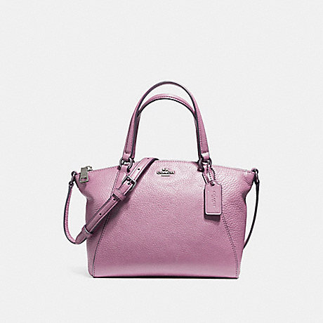 COACH f57563 MINI KELSEY SATCHEL IN PEBBLE LEATHER SILVER/LILAC