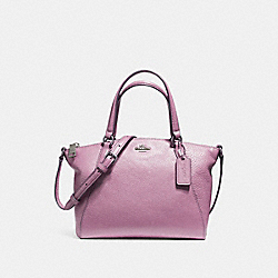 MINI KELSEY SATCHEL IN PEBBLE LEATHER - f57563 - SILVER/LILAC