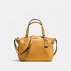COACH F57563 Mini Kelsey Satchel In Pebble Leather SILVER/MUSTARD