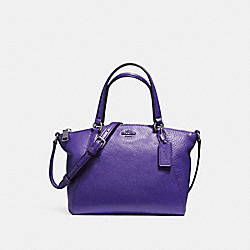 MINI KELSEY SATCHEL IN PEBBLE LEATHER - f57563 - SILVER/PURPLE