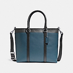 PERRY BUSINESS TOTE IN COLORBLOCK - f57568 - NICKEL/DENIM/MIDNIGHT/BLACK