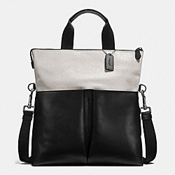 COACH F57569 - CHARLES FOLDOVER TOTE IN PERFORATED LEATHER CHALK/BLACK