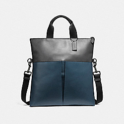 CHARLES FOLDOVER TOTE - f57569 - BLACK ANTIQUE NICKEL/DENIM/GRAPHITE