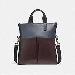 CHARLES FOLDOVER TOTE - f57569 - BLACK ANTIQUE NICKEL/OXBLOOD/MIDNIGHT