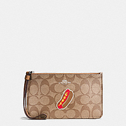 COACH F57576 Nyc Hotdog Small Wristlet In Signature SILVER/KHAKI/SADDLE