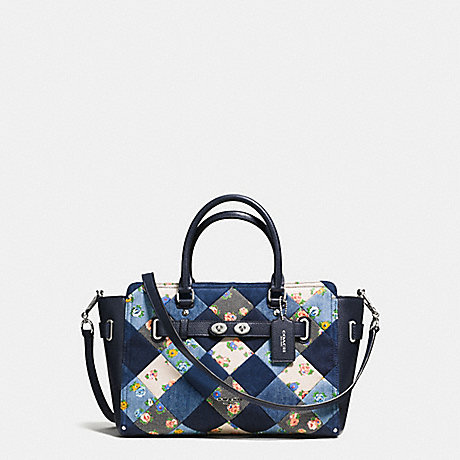 COACH f57579 BLAKE CARRYALL IN DENIM PATCHWORK SILVER/MIDNIGHT MULTI