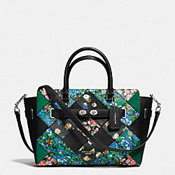 COACH F57580 - BLAKE CARRYALL IN FLORAL PATCHWORK LEATHER SILVER/BLACK MULTI