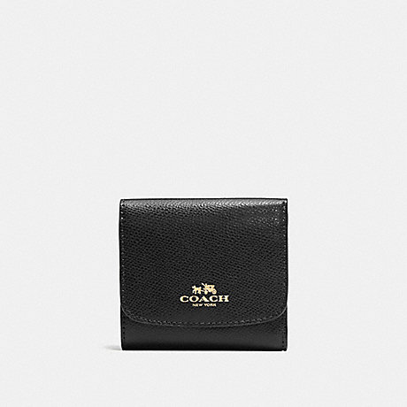 COACH f57584 SMALL WALLET IN CROSSGRAIN LEATHER IMITATION GOLD/BLACK