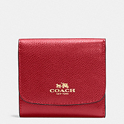 COACH F57584 Small Wallet In Crossgrain Leather IMITATION GOLD/TRUE RED
