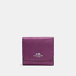 SMALL WALLET IN CROSSGRAIN LEATHER - f57584 - SILVER/MAUVE