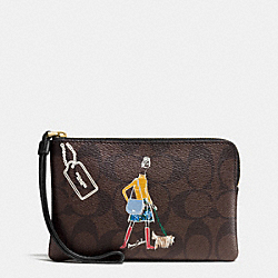 COACH F57586 Bonnie Cashin Corner Zip Wristlet IMITATION GOLD/BROWN/BLACK