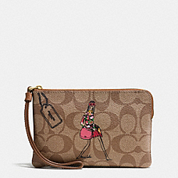 COACH F57586 Bonnie Cashin Corner Zip Wristlet IMITATION GOLD/KHAKI/SADDLE