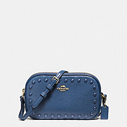 COACH CROSSBODY POUCH WITH ENAMEL STUDS - IMITATION GOLD/MARINA - F57587