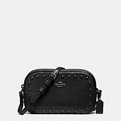 COACH CROSSBODY POUCH WITH ENAMEL STUDS - ANTIQUE NICKEL/BLACK - F57587
