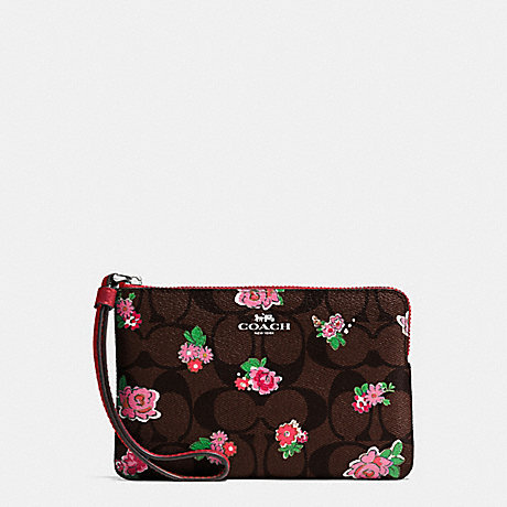 COACH f57588 CORNER ZIP WRISTLET IN FLORAL LOGO PRINT COATED CANVAS SILVER/BROWN RED MULTI